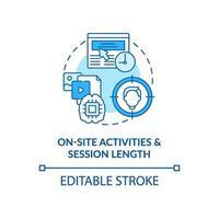 sulle attività del sito e sulla durata della sessione blu concetto icona vettore