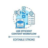 utilizzare l'icona del concetto blu del flusso di lavoro dei contenuti efficiente vettore