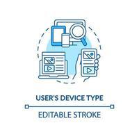icona del concetto di tipo di dispositivo utente blu vettore