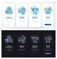 sponsorizzare riunioni a distanza sulla schermata della pagina dell'app per dispositivi mobili con concetti vettore