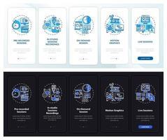 contenuto della riunione a distanza onboarding schermata della pagina dell'app mobile con concetti vettore
