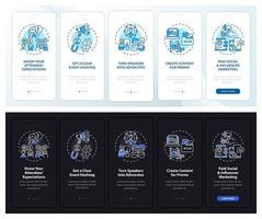 schermata della pagina dell'app mobile di onboarding marketing a distanza con concetti vettore