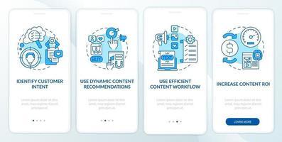 Suggerimenti per contenuti intelligenti Schermata della pagina dell'app mobile di onboarding blu con concetti vettore