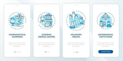 gli studi clinici supportano l'onboarding della schermata della pagina dell'app mobile con concetti vettore