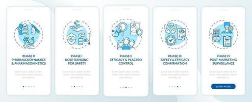 fasi di esame clinico onboarding schermata della pagina dell'app mobile con concetti vettore