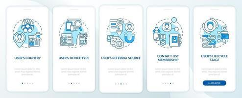 criteri di regole intelligenti schermata della pagina dell'app mobile di onboarding blu con concetti vettore