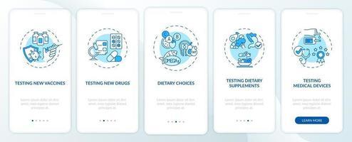 tipi di studi clinici onboarding schermata della pagina dell'app mobile con concetti vettore