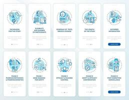 studi di ricerca sulla schermata della pagina dell'app mobile con set di concetti vettore