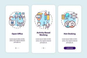 futuri ambienti di ufficio onboarding schermata della pagina dell'app mobile con concetti vettore