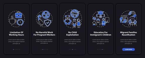 i diritti dei lavoratori migranti onboarding schermata della pagina dell'app mobile con concetti vettore