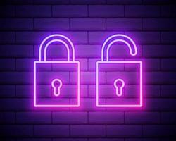 lucchetto al neon impostato sulla priorità bassa del muro di mattoni vettore