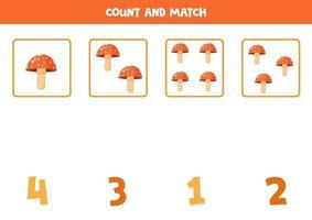 contare i funghi agarico di mosca. gioco di matematica per bambini in età prescolare. vettore
