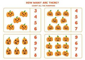 contando la zucca di halloween jack o lantern. gioco di matematica. vettore