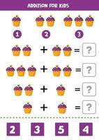 gioco di matematica aggiunta con cupcake halloween simpatico cartone animato. vettore