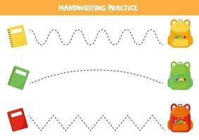 tracciando linee con zaino scolastico e quaderni. vettore