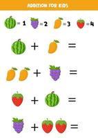 aggiunta con frutti diversi. anguria cartone animato, mango, uva, fragola. vettore