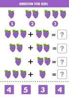 aggiunta per bambini con uva simpatico cartone animato. vettore