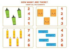 conta la quantità di matite kawaii, quaderni, evidenziatori, righelli. vettore
