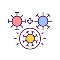 icona di colore rgb del processo di mutazione del virus vettore