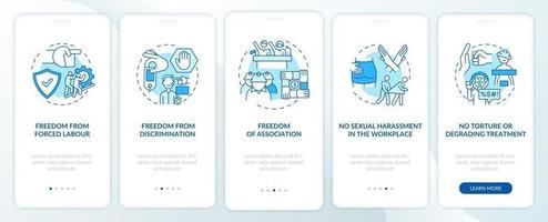 I lavoratori migranti liberano la schermata della pagina dell'app mobile di onboarding blu con concetti vettore