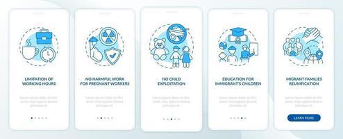 i diritti dei lavoratori migranti schermata della pagina dell'app mobile di onboarding blu con concetti vettore