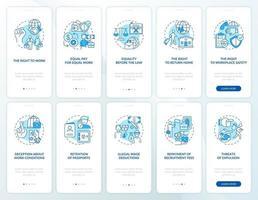 i diritti dei lavoratori migranti schermata blu della pagina dell'app mobile di onboarding con set di concetti vettore