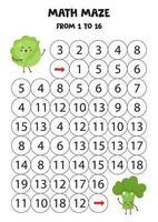 gioco di matematica da 1 a 16. Il simpatico cavolo kawaii va ai broccoli kawaii. vettore