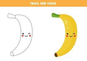 pratica di scrittura a mano per bambini in età prescolare con simpatica banana kawaii. vettore
