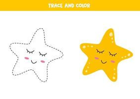 traccia e colora una simpatica stella marina kawaii. capacità di scrittura. vettore