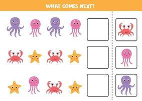 gioco logico con granchi di mare, polpi, meduse e stelle marine. continuare la sequenza. vettore