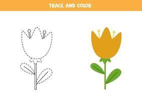 traccia e colora graziosi fiori primaverili. foglio di lavoro per bambini. vettore