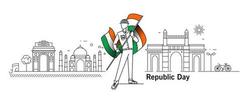 26 gennaio concetto di giorno della repubblica con un ragazzo che tiene la bandiera indiana india gate taj mahal gateway of india mumbai. vettore