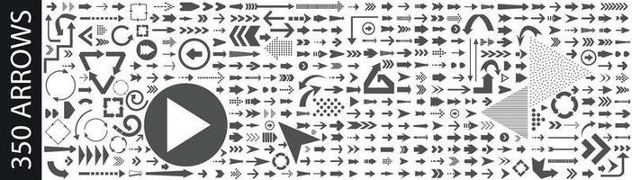 grande raccolta di diversi segni di frecce vettore