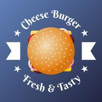 Illustrazione dell'emblema di vista superiore dell'alimento degli alimenti a rapida preparazione dell'hamburger del formaggio