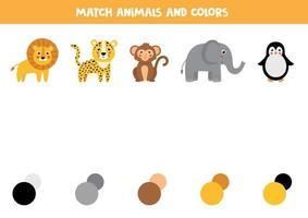 abbinare l'animale e la sua tavolozza di colori. gioco educativo per bambini. vettore