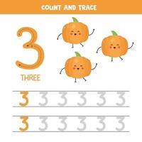 tracciare i numeri del foglio di lavoro. numero tre con graziose zucche kawaii. vettore