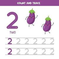 tracciare i numeri del foglio di lavoro. numero due con graziose melanzane kawaii. vettore
