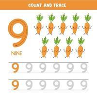 tracciare i numeri del foglio di lavoro. numero nove con carote kawaii carine. vettore