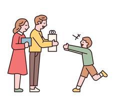 genitori che regalano il loro bambino vettore