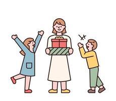 la madre è in piedi con un regalo ei bambini si stanno divertendo. genitori e bambini felici che fanno regali ai bambini nella giornata dei bambini. illustrazione di vettore minimo di stile di design piatto.