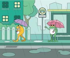 una rana in piedi alla fermata dell'autobus con un ombrello in una giornata piovosa vettore