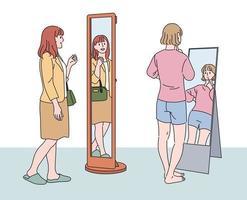 una donna è in piedi davanti a uno specchio a figura intera e si guarda. illustrazioni di disegno vettoriale stile disegnato a mano.