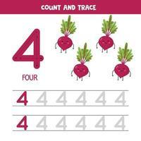 tracciare i numeri del foglio di lavoro. numero quattro con simpatiche barbabietole kawaii. vettore