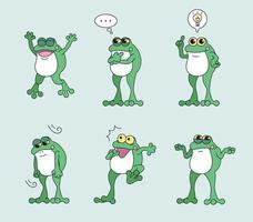 un personaggio di rana che esprime varie emozioni. illustrazioni di disegno vettoriale stile disegnato a mano.
