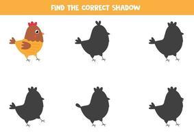 trova l'ombra corretta della gallina simpatico cartone animato. vettore