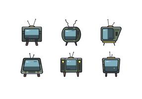 Retro set televisivo vettoriale
