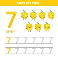 tracciare i numeri del foglio di lavoro. numero sette con simpatici peperoni gialli kawaii. vettore