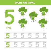 tracciare i numeri del foglio di lavoro. numero cinque con graziosi broccoli kawaii. vettore