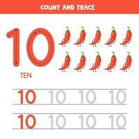 tracciare i numeri del foglio di lavoro. numero dieci con simpatici peperoni rossi kawaii. vettore