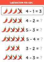 sottrazione per i bambini. illustrazione vettoriale di peperoncino rosso.